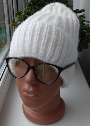 Sale! новая ангоровая шапка бини (на флисе), молочная