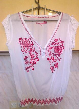 Новая фирменая блуза вышиванка, большемерит на 12-14 рр, хлопок коттон