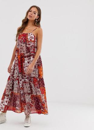 Легкий шифоновый сарафан макси оверсайз, свободное платье в пол на тонких бретелях