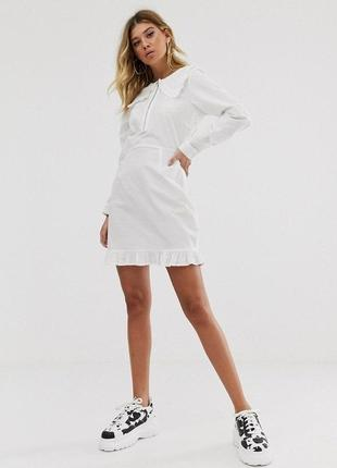 Белое хлопковое платье рубашка с воротником asos, платье трапеция с длинным рукавом