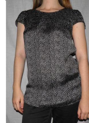 Распродажа блуза ostin в горох polka dot классическая чёрно-белая горошек пин-ап рюши
