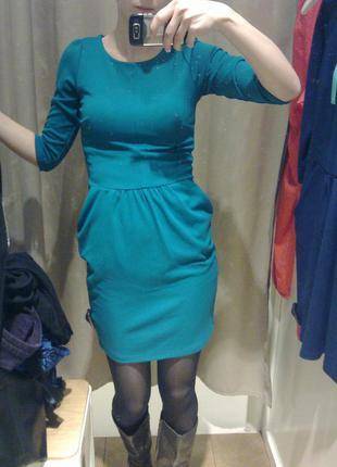 Стильное бирюзовое платье stradivarius