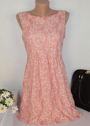 Брендовое розовое нарядное мини короткое платье atmosphere кружево коттон
