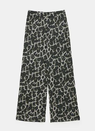 Широкие брюки с анималистичным принтом высокая талия zara trafaluk portugal