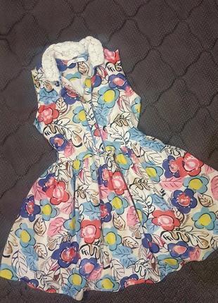Летнее платье в цветочек,платье рубашка на 6-7л