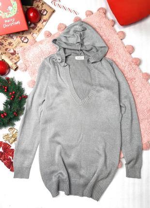 Тонкий удлиненный пуловер джемпер с капюшоном люрекс