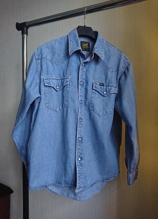 Рубашка оверсайз сорочка ковбойский стиль джинсовая деним lee винтаж