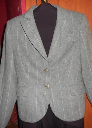 Шерстяной пиджак жакет  блейзер с манжетами в актуальную полоску - 50 размер