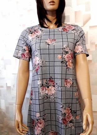 Стильное платье трапеция  в клетку с цветами  от new look
