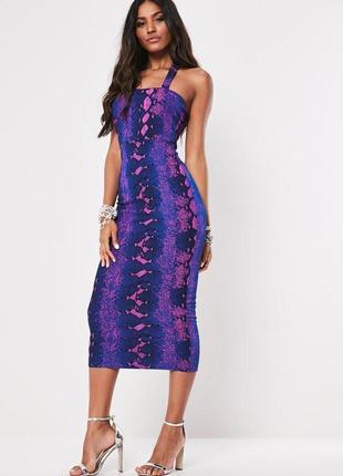 Missguided,новинка 2020!! платье миди с неоновым принтом uk 12 на наш 44 новое.