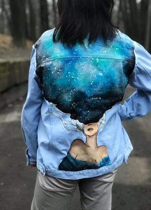 Джинсовая курточка,джинсовка с росписью