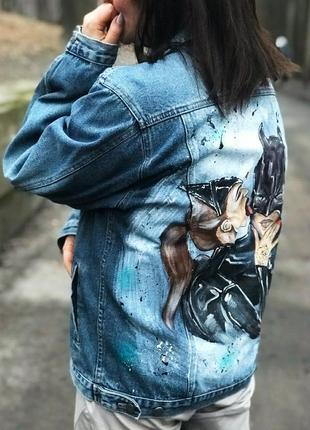Джинсовка с рисунком,с росписью, джинсовая куртка