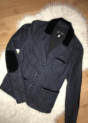 🌿люксовый джинсовый жакет с бархатом armani jeans джинсовый пиджак с карманами