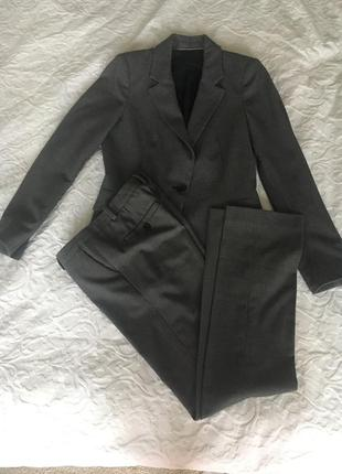 Классический серый костюм zara, xs-s, брюки, пиджак