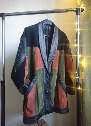 Куртка кожа замша винтаж 80-е оверсайз бомбер