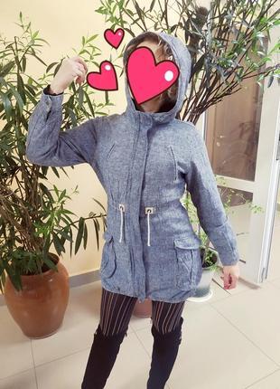 Джинсовая парка ветровка куртка пллащ