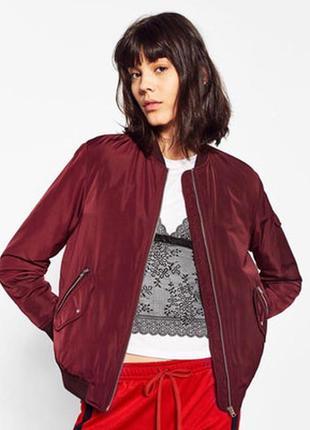 Куртка бомбер бордо марсала бургунди с карманами спортивная на молнии зара zara