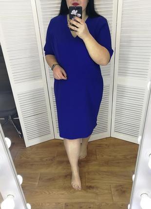 Синее платье-футляр, р. 24.