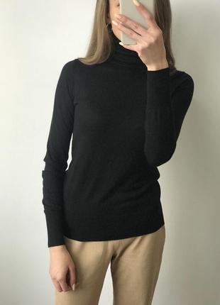 Гольф водолазка джемпер чёрный шёлк кашемир теплый горло классический тонкий винтаж