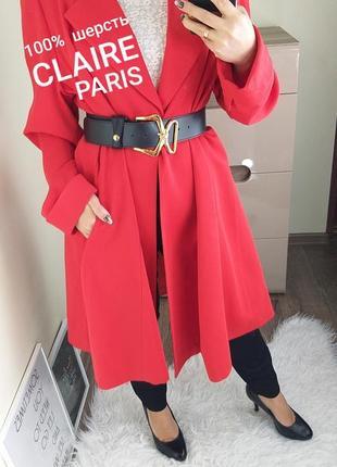 Claire paris франция шикарный красный шерстяной длинный пиджак