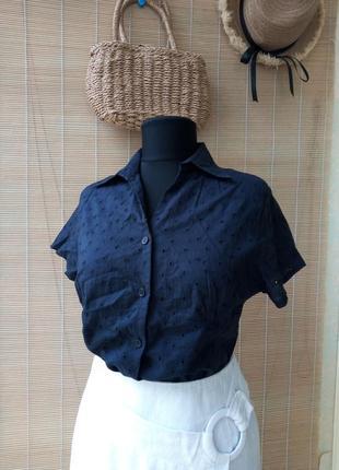 Рубашка блуза с коротким рукавом шитье