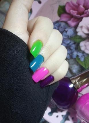Лаки для ногтей розовый фиолетовый синий бирюзовый зеленый салатовый