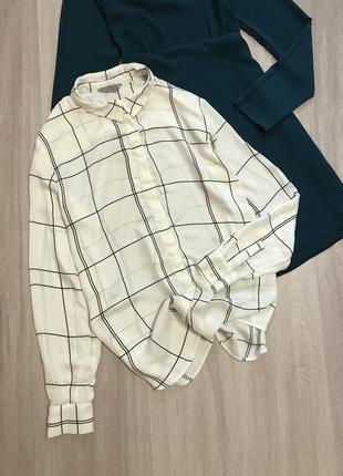 Шикарна сорочка рубашка блуза в клітку клетку чорно-білу м/l свободная h&m
