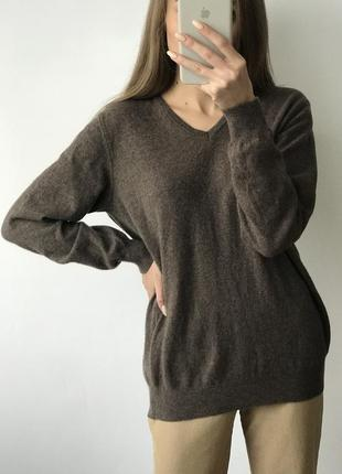 Джемпер свитер коричневый бежевый серый шерсть шерстяной удлиненный оверсайз объемный