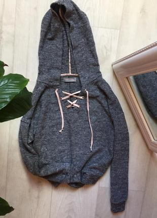 Кроп худи кофта с капюшоном и шнуровкой в полоску new look
