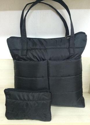 Стеганная (дутая) сумка с косметичкой
