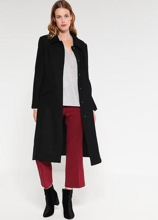 Чёрное шерстяное пальто mint&berry