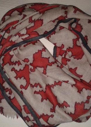 Шерстяной большой шарф-палантин, тонкая шерсть