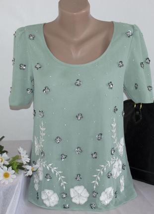 Брендовая бирюзовая шифоновая блуза с коротким рукавом next индия бисер паетки цветы
