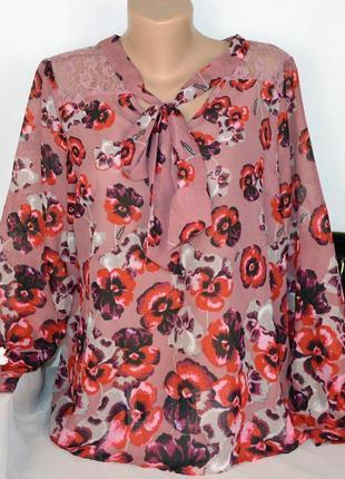 Брендовая шифоновая блуза next турция кружево принт цветы этикетка