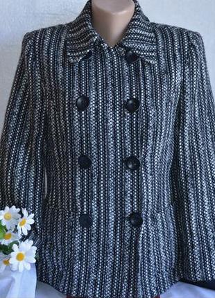Брендовое черно-белое демисезонное пальто полупальто с карманами florence+fred акрил