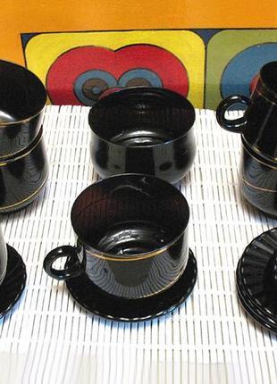 Чайный, кофейный сервиз из черного стекла, постсоветский винтаж