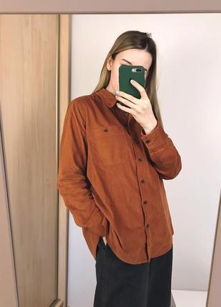 Терракотовая вельветовая рубашка