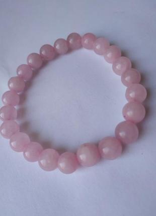 Браслет натуральный камень розовый кварц1 фото