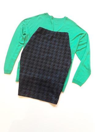 Трикотажная юбка  карандаш в гусиную лапку