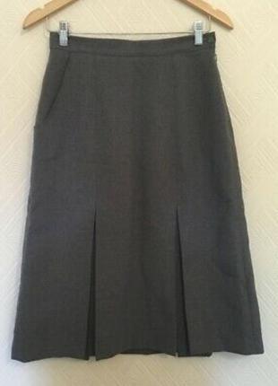 1+1=3 винтажная серая плотная юбка миди с карманами emsmorn, размер 52 - 54