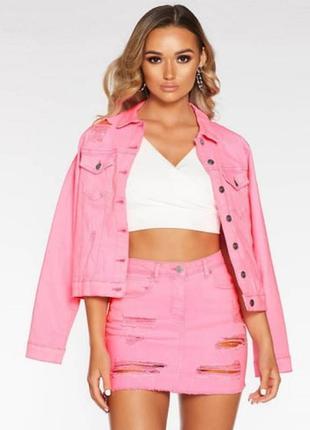 Трендова шкіряна куртка replay кожаная неон розовый премиум бренд жакет