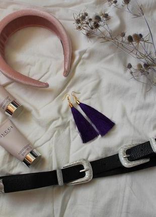 Серьги серёжки сережки кисти кисточки фиолетовые виолет новые