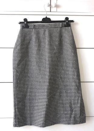 Крутая шерстяная миди юбка карандаш высокой посадки в принт гусиная лапка andrea германия