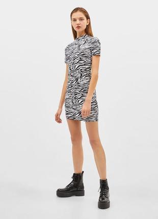 Платье плаття футляр зебра черно белое новое bershka