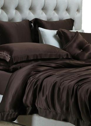 Акция!атласное постельное белье англия chocolate
