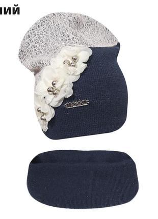 Весенний комплект шапка с хомутом ангел ог. 53-55см