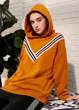 Худи оверсайз толстовка кофта свитер пуловер на флисе горчица с полосами с капюшоном