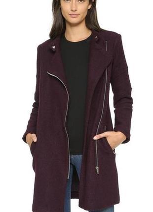 Пальто-косуха из шерстю цвета марсала бургунди американского бренда bb