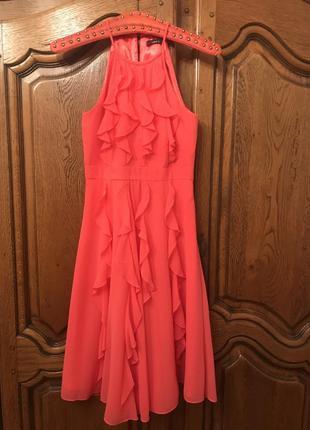 Коктельное,вечернее,повседневное коралловое платье без рукавов,с рюшами