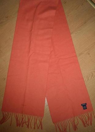 Теплый мягкий легкий классический шарф gant овечья шерсть 184х30см коралловый италия